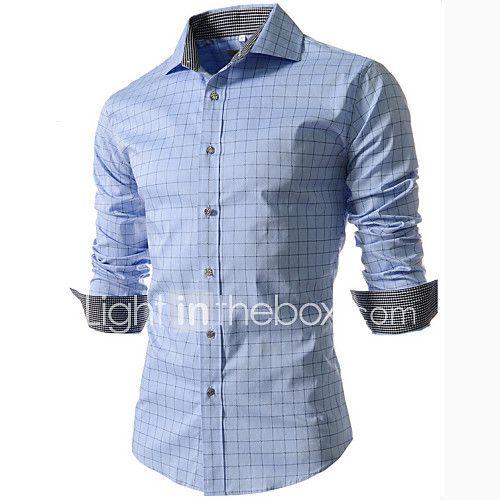Chemise Pour des hommes Tartan Décontracté / Grandes Tailles Coton / Polyester Manches longues Bleu / Blanc de 2017 ? $13.99