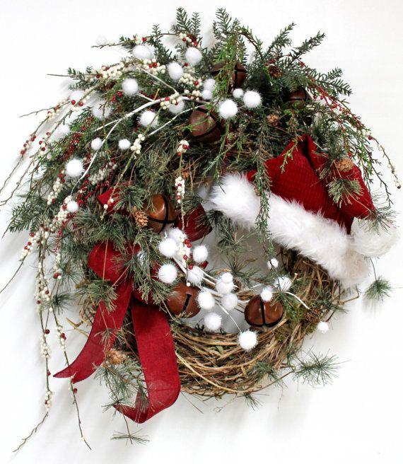 Santa Hat Wreath Wreaths Pinterest Christmas And