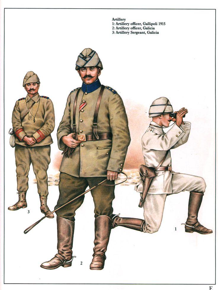 Ottoman Artillery 1914-18:  1: Artillery officer, Gallipoli 1915;  2: Artillery officer, Galicia;  3: Artillery sergeant, Galicia