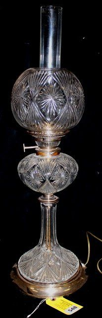 Lot: CRYSTAL THREE LAMP, Lot Number: 0548, Starting Bid: $100, Auctioneer: Hewlett's Auctions, Auction: VICTORIAN LAMPS, ART GLASS ESTATE AUCTION, Date: February 9th, 2014 EST