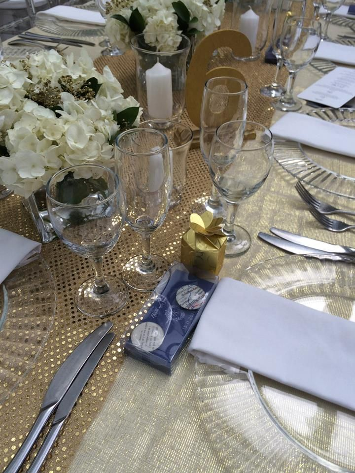 "Close up of some of the elements of the tables for ""Glittering Gold"" tables"