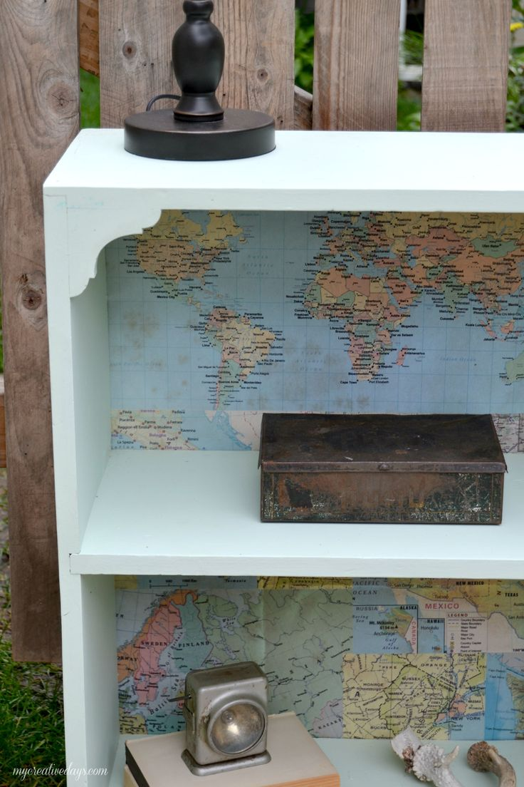 Update an old bookshelf with a map! Curbside Bookshelf Makeover mycreativedays.com
