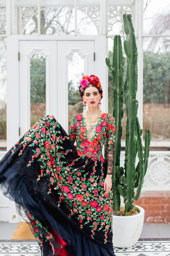 2c5346402aac Bright colorful Frida Kahlo inspired wedding editorial