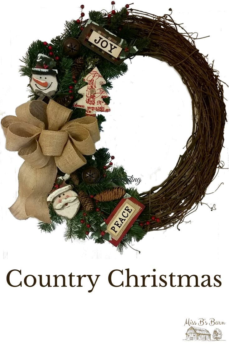 Country Christmas Wreath by Miss B's Barn #country #christmas #joy #peace #santa #snowman #wreath #burlap #bow #missbsbarn