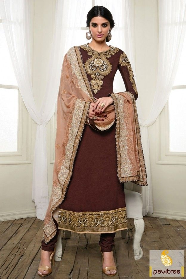 Be in spotlight by wearing stunning brown peach color embroidered neck line…