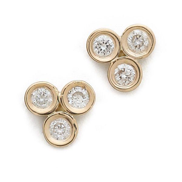 Ariel Gordon Jewelry Mini Diamond Triad Stud Earrings (24,730 INR) ❤ liked on Polyvore featuring jewelry, earrings, bezel set diamond earrings, diamond stud earrings, sparkly earrings, diamond jewelry and diamond earrings