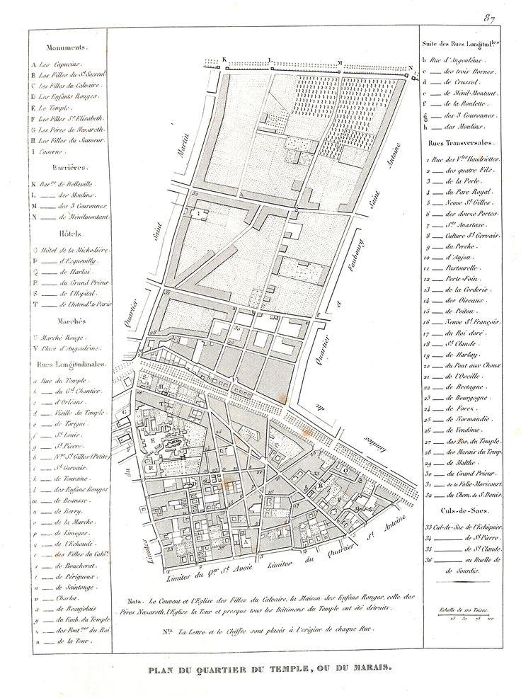 Plan du quartier du Temple ou du Marais - plan de Paris en 1839 - Dressé par Charle & gravé par P. Rousset pour J. de Marlès à Bruxelles