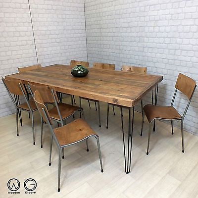 HAIRPIN LEGS VINTAGE INDUSTRIAL RECLAIMED TIMBER MID CENTURY DINING TABLE  1960s Part 90