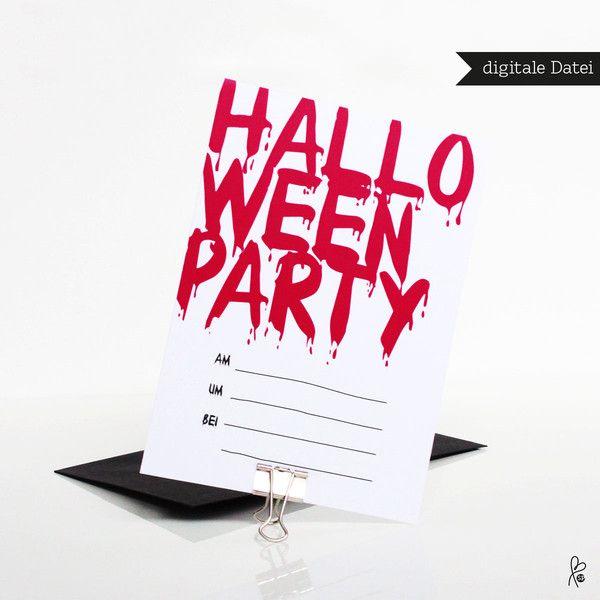 Weiteres - Einladung Halloween / Printable / Horror / A6 - ein Designerstück…