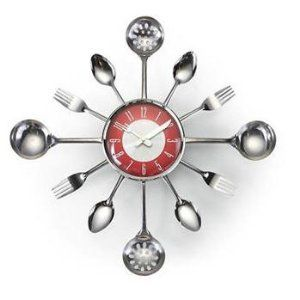 Kitsch'n Clock- Red/Silver Retro Sunburst Clock