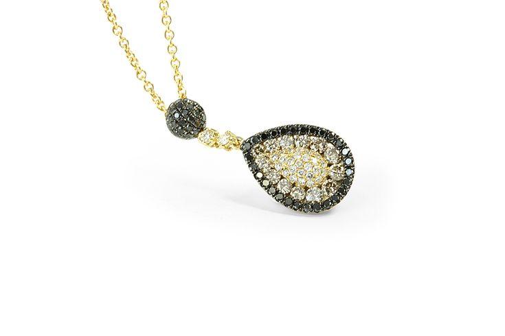 18 ct yellow gold black, white & champagne diamond pear shaped pendant