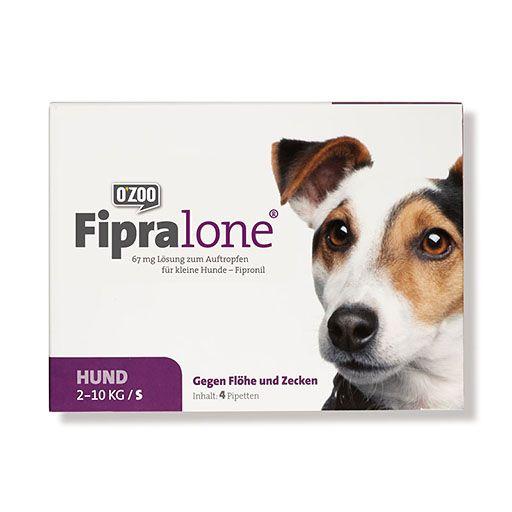 FIPRALONE 67 mg Lsg.z.Auftropf.f.kleine Hunde 4 St. Fipralone® wirkt bei Katzen und Hunden sofort mit dem ersten Kontakt und schützt zuverlässig vor Floh- und Zecken befall. Einfach in der Anwendung mit langanhaltender Wirkung.