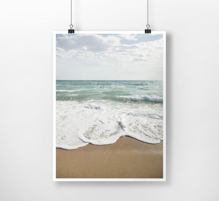 seascape landscape Waves, Water, Coastal Wall Decor, Beach Art, Large Printable Poster, Digital Download, Modern, Minimalist, Turquoise Blue by PrintingDots on Etsy