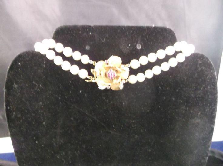 Vintage Estate Pearl 14K Gold Ruby & Diamond Flower Pendant Clasp 17.9 GRams 14K #Choker