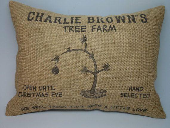 Charlie Brown Tree Farm Burlap Decorative by PolkadotApplePillows