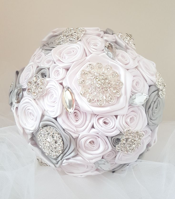 """Silver Grey Bridal Brooch Bouquet, Wedding Bouquet, Forever Keepsake Bouquet. White and silver grey satin ribbon handmade roses.  Silver tone  brooch accents. 8"""" bouquet."""