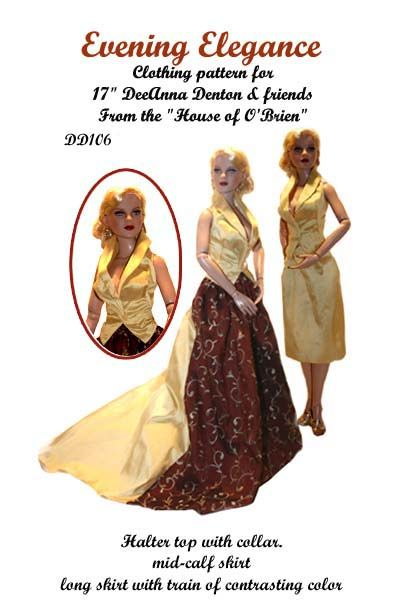 Evening dress in two styles for DeeAnna  denton and similar size dolls