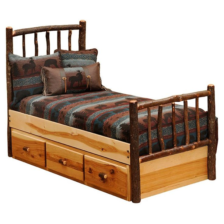 Hickory Traditional Platform Bed - Traditional rustic style lives on in the Hickory Traditional Platform Bed, which is beautifully handcrafted from hickory wood and bark-on hickory ...