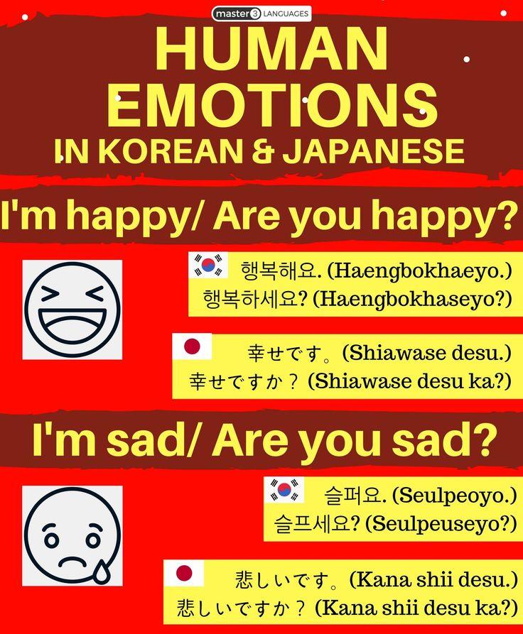 I'm happy | Are you happy? Korean Hangul: 행복해요. | 행복하세요? Romanization: Haengbokhaeyo. | Haengbokhaseyo? Japanese Kanji: 幸せです。 | 幸せですか? Romaji: Shiawase desu. | Shiawase desu ka? I'm sad | Are you sad? Korean Hangul: 슬퍼요. | 슬프세요? Romanization: Seulpeoyo. | Seulpeuseyo? Japanese Kanji: 悲しいです。 | 悲しいですか? Romaji: Kana shii desu. | Kana shii desu ka?