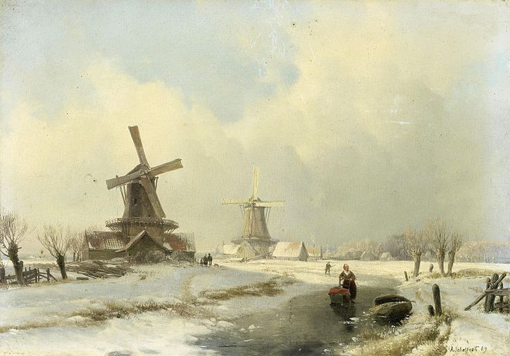 Andreas Schelfhout (Winter Landscape with Two Windmills)