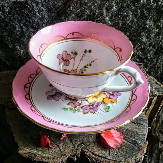 Pink Tea Cup Set  Tuscan Fine China Teacup Made in England