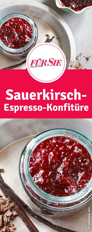So machst du leckere Konfitüre mit Sauerkirschen und Espresso.
