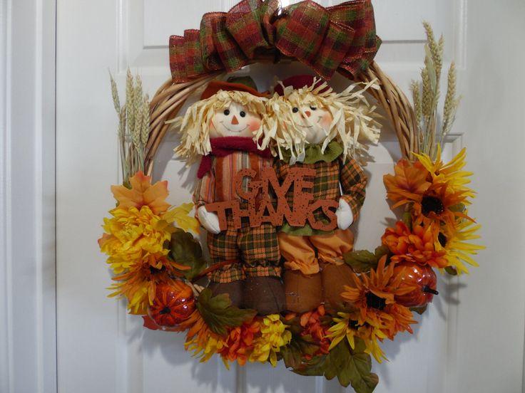 Scarecrow Wreath, Grapevine Scarecrow Wreath, Fall Scarecrow Wreath, Fall Wreath, Autumn Wreath, Thanksgiving Wreath, Grapevine Wreath by SwaymeVegas on Etsy
