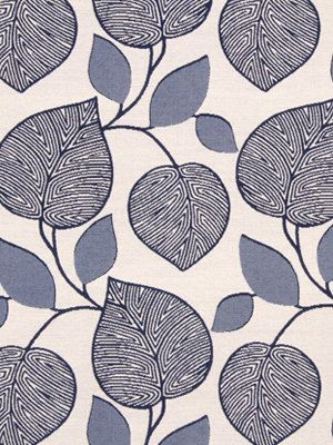 Navy Blue Upholstery Fabric With Modern Leaf Design Blue