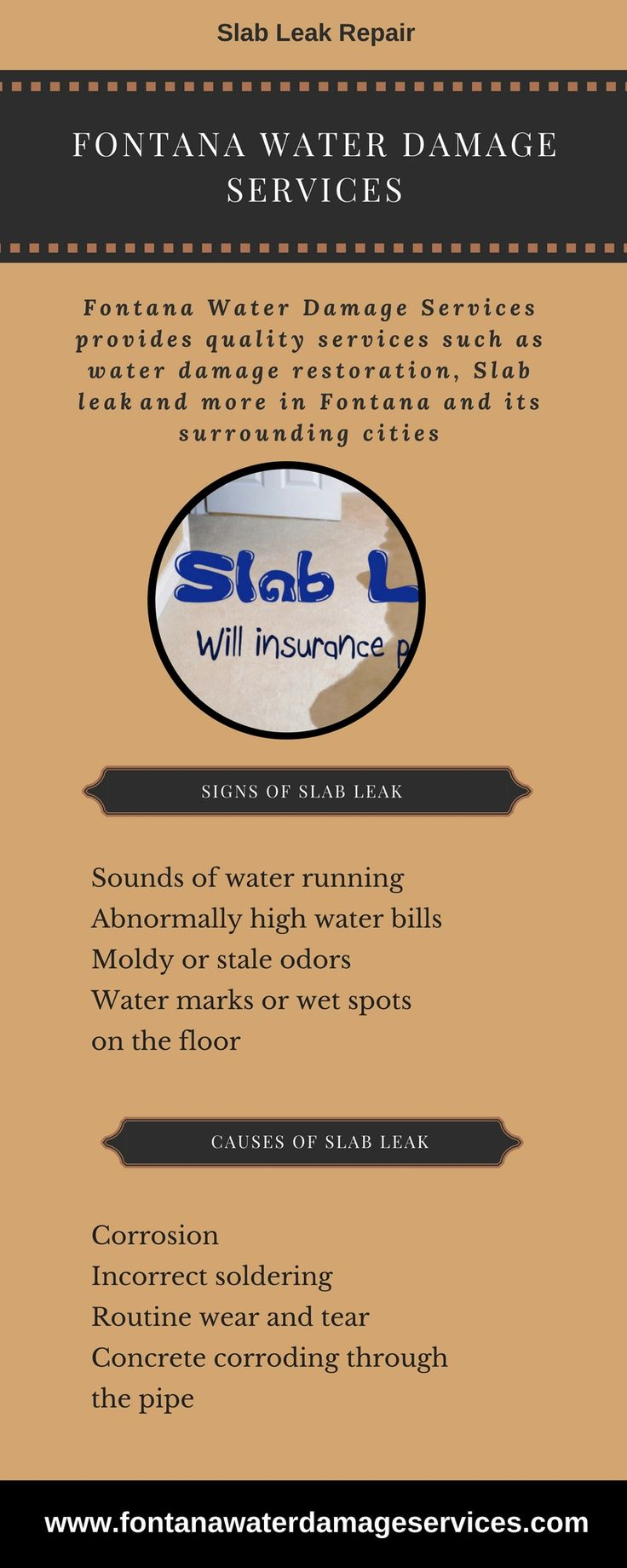 This infographic shares information about the slab leak. If you have problem of slab leak in Bloomington, Fontana, Colton, Ontario, and Rancho Cucamonga then contact the Fontana Water Damage Services which provides the best services to solve slab leak problem.