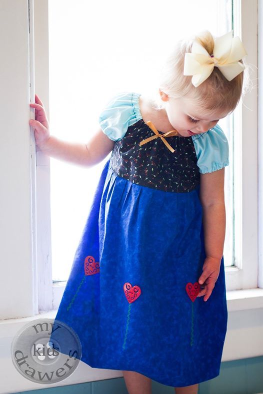 Princess Anna Dress by by @My Kids Drawers | https://www.facebook.com/pages/My-Kids-Drawers/223718661039360 https://www.etsy.com/shop/mykidsdrawers