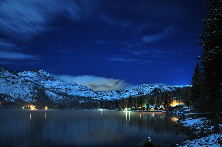 Tahoe City at night - Northwest side of the lake.