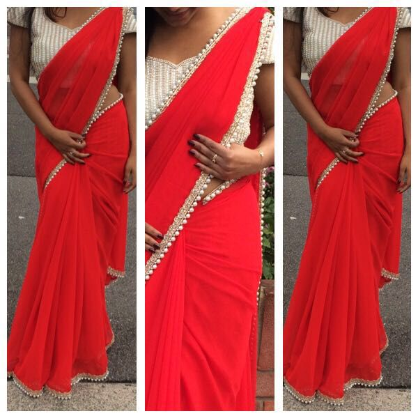 Red saree paired with pearl blouse