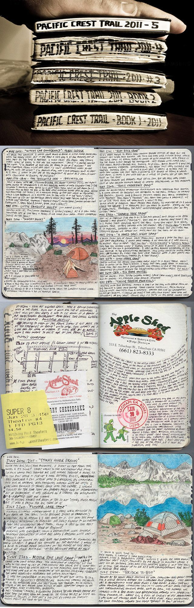 After being laid off from his job in April 2011, Kolby Kirk (The Hike Guy) decided he would attempt to complete as much as he could of the 2,650-mile Pacific Crest Trail. In that time, Kolby wrote 850 pages in his journals, a few of which he has scanned for a major dose of visual stimulation. The pages are filled with charts, receipts, beer labels, stamps, dried botanicals, & sketches. See his Flickr photostream ~ https://www.flickr.com/photos/kahunna/