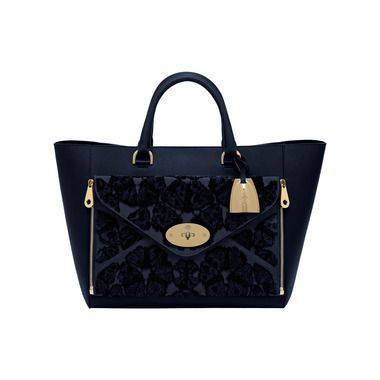 Mulberry - Willow Tote in Midnight Blue Jacquard Velvet
