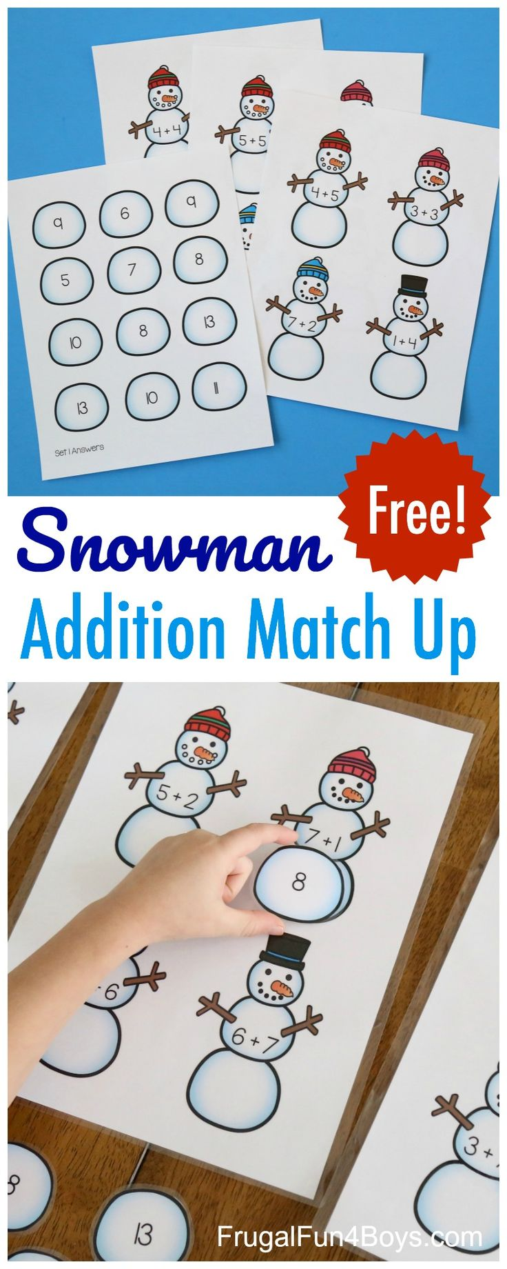 Addition Fact Practice for Kids - Printable Snowman Addition Match-Up Game #math #firstgrade