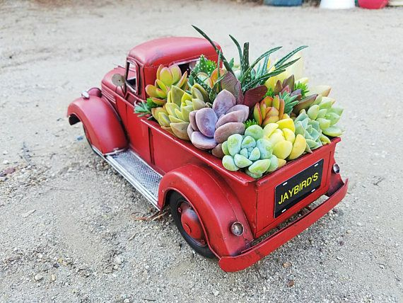 Country new large distressed OL RED TRUCK metal garden planter