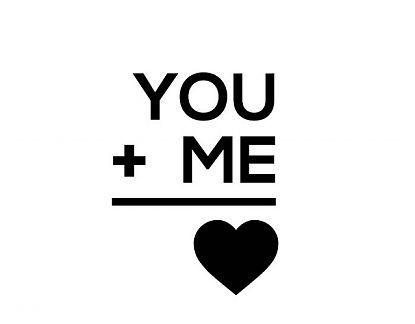 . Vinilos textuales en inglés You + Me = ♥ 04348