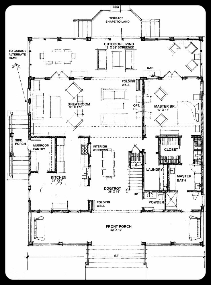 Essie Curl 2119 Ft Dogtrot 3 Bedrooms House Designs: dogtrot house plan