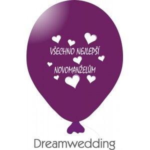 Svatební balonek s textem - Hodně štěstí novomanželům stříbrná