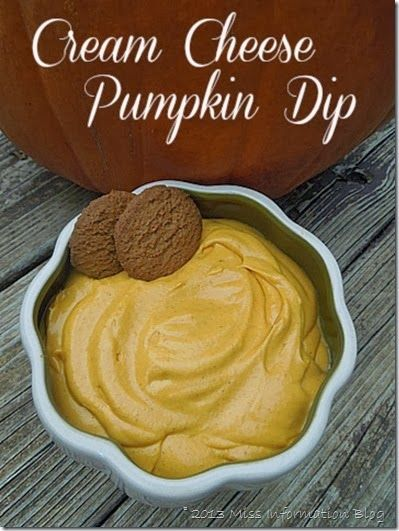 Pumpkin dip from the Complete Guide to Thanksgiving Part 1 Appetizers - tons of great appetizers something for everyone / Miss Information Blog / #Pumpkin #Appetizers #Thanksgiving #Guide