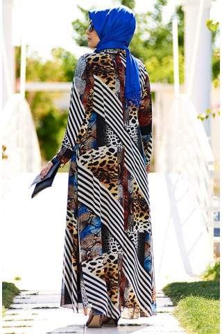 Nesrin Emniyetli Kolaj Desenli Şifon Elbise 2160090 Beyaz - Siyah
