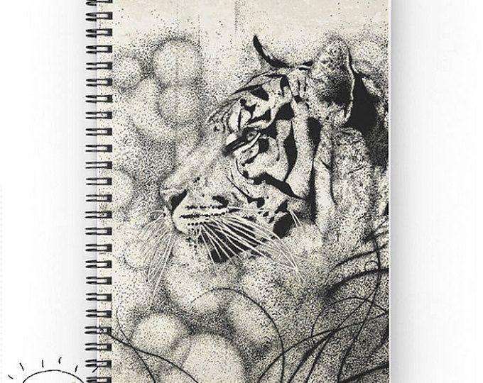 Tiger Notebook, Black and White Notebook, Cat Lover Gift, Beautiful Journal, Graph Notebook, Cat Cover Notebook, Cat Gifts, Cat Owner Gifts