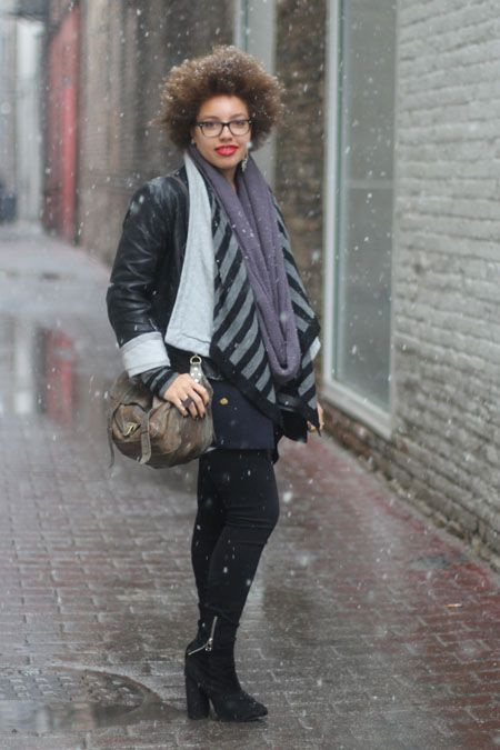 Rhianna is a Chicago native visiting home from Tufts University. We're fully appreciating her bold lip on a dreary day, as well as her balanced outfit focusing the volume on top. That scarf by the way, was thrifted in Paris. Yeah.    Photographed by Amy Creyer
