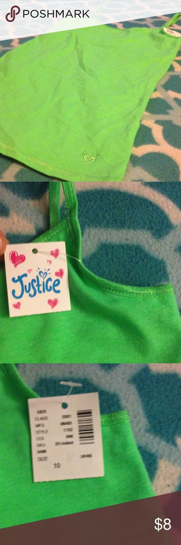 Justice tang top Girls size 10, Justice, green spaghetti strap, tang top, tag on, New Justice Shirts & Tops Tank Tops