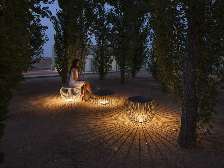 Outdoor Garden Lights: Steel Stool With Integrated LED Lighting