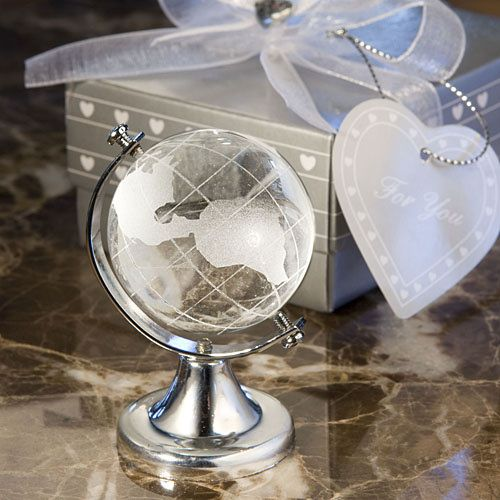 Crystal Globe Travel Themed Wedding Favors (FashionCraft 2236) | Buy at Wedding Favors Unlimited (http://www.weddingfavorsunlimited.com/crystal_globe_favors.html).