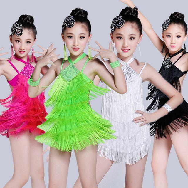 Vestido de Baile latino Niños 4 Unids 4 Colores Niños Niñas Vestido de la  Danza de La Competencia Latina Trajes Para Cha Cha Rumba Samba Ba… a2f3a493366