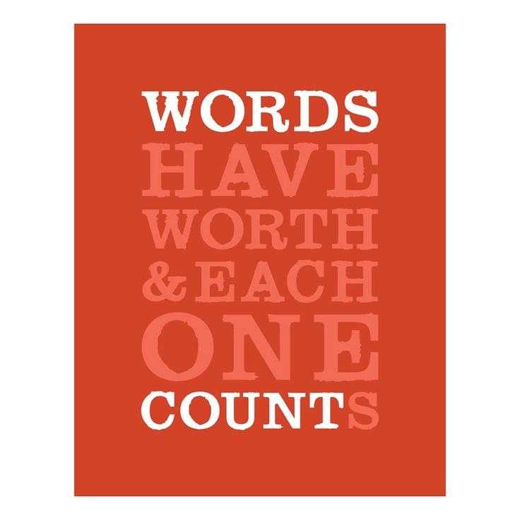 Word's Worth Print Gray 11x14 / Logophilia