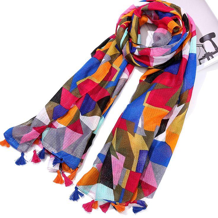 [NTNKZQ] New Design 180100CM Cotton Scarves Women Fashion Tassels Long Scarf foulard femme hijab