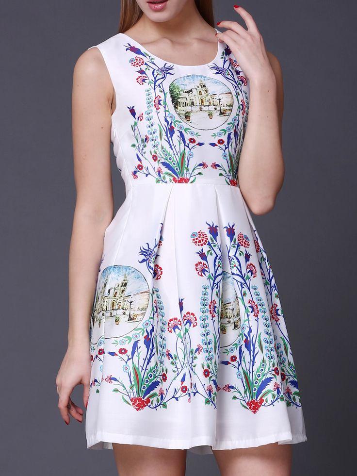 ¡Cómpralo ya!. White Scoop Neck Vintage Print A-Line Dress. White Round Neck Sleeveless Polyester A Line Short Print Fabric has no stretch Summer Vintage Day Dresses. , vestidoinformal, casual, informales, informal, day, kleidcasual, vestidoinformal, robeinformelle, vestitoinformale, día. Vestido informal  de mujer color blanco de SheIn.